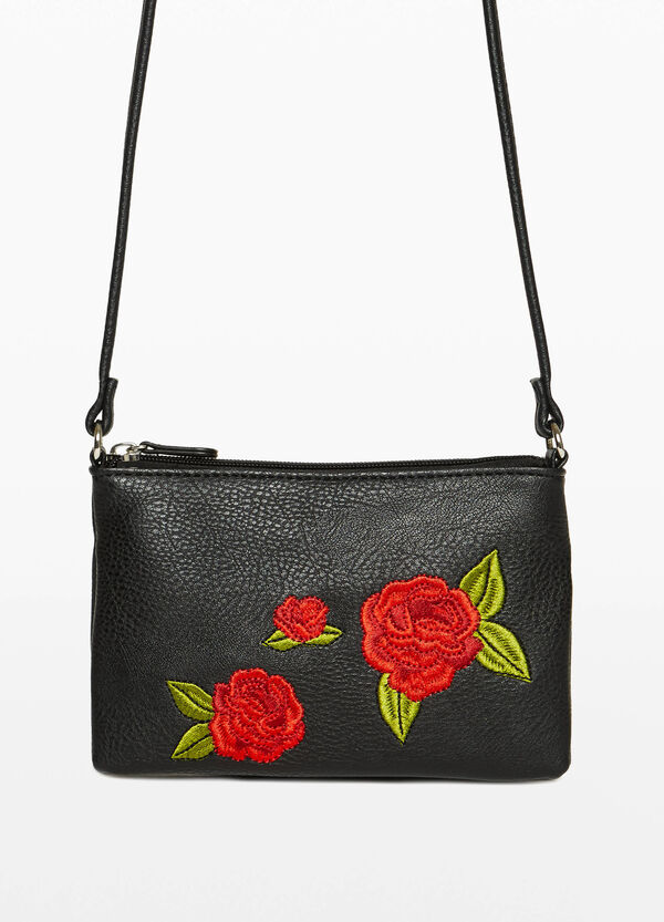 Shoulder bag with floral embroidery