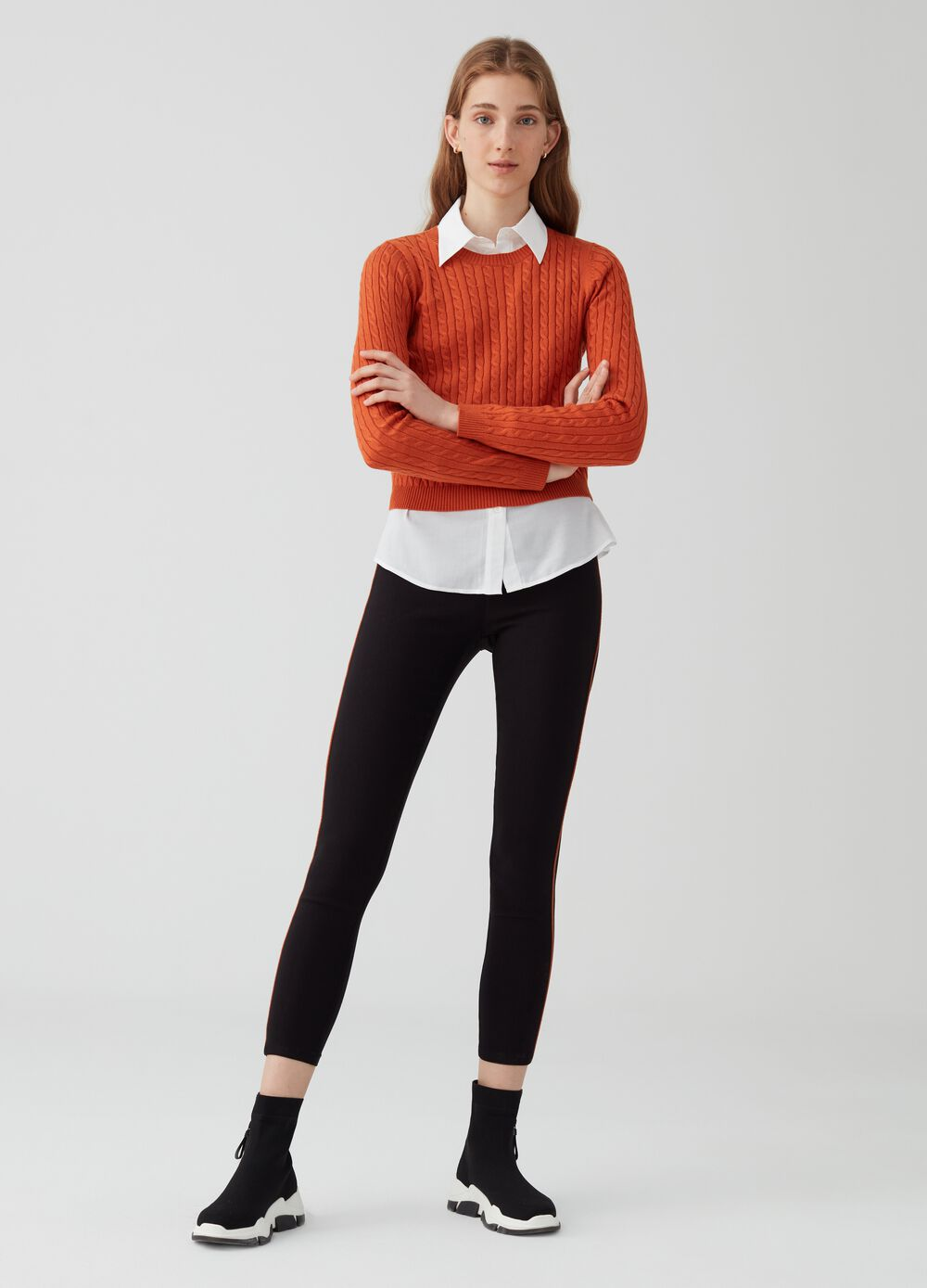 Jeggings with striped insert on sides and pocket