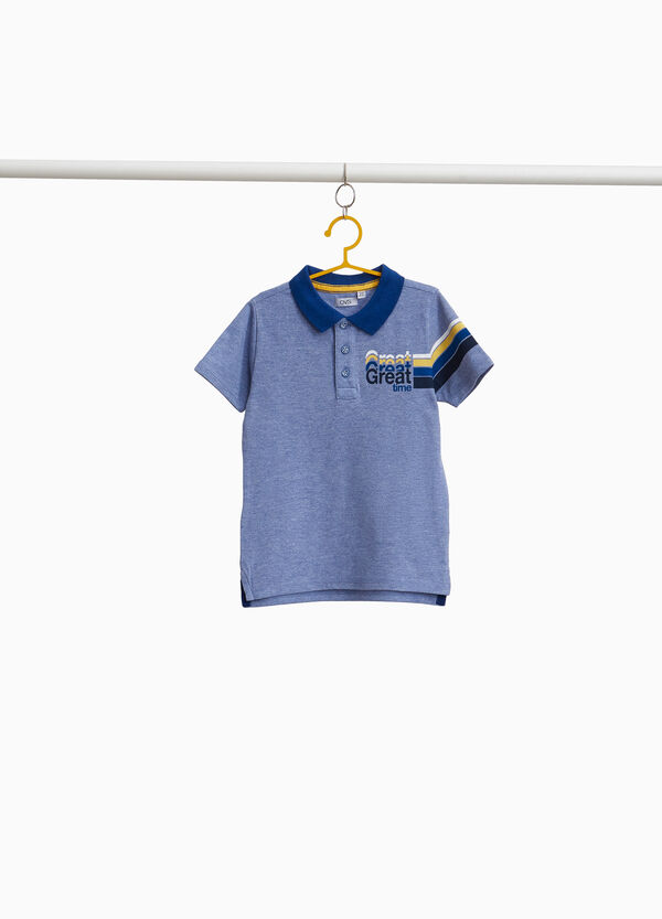 Polo shirt in cotton blend with striped print