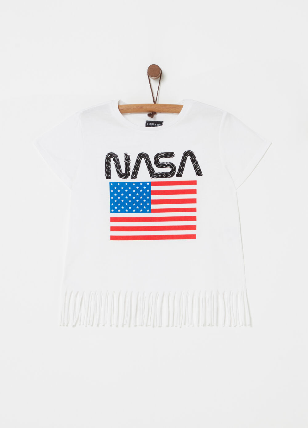 T-shirt with fringing and Nasa print