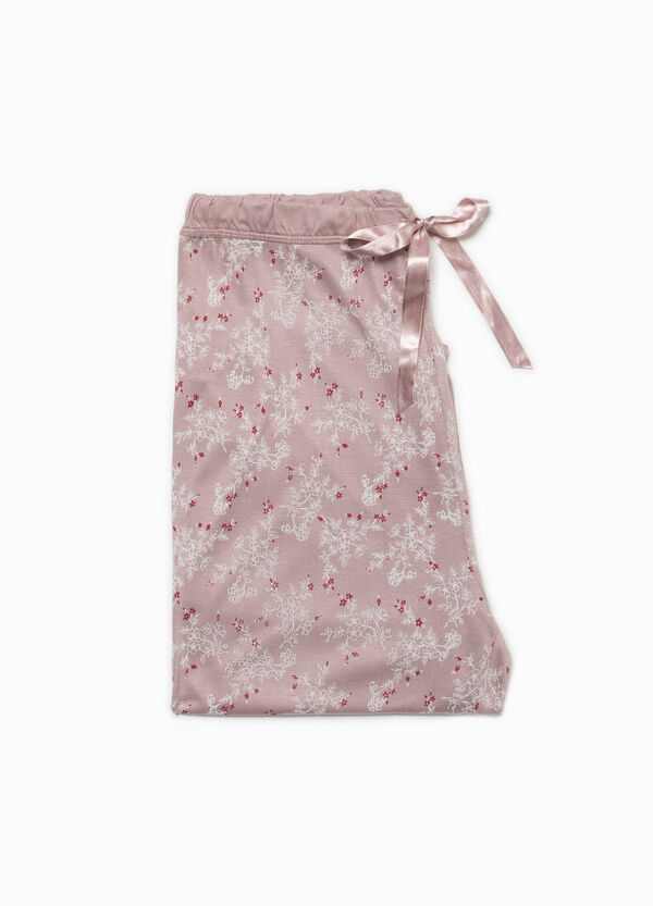 Floral pyjama trousers with lace   OVS