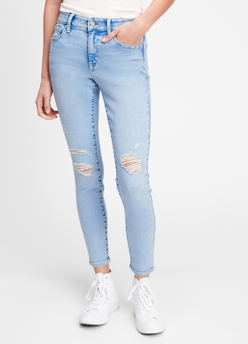 GAP stretch jeggings with rips image number null
