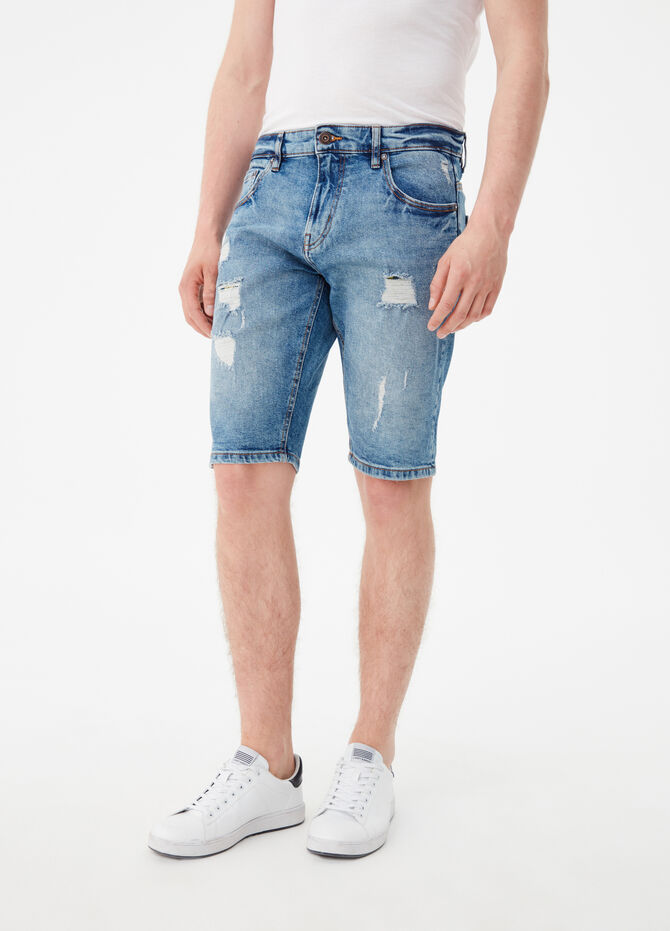 Shorts jeans straight fit effetto vintage