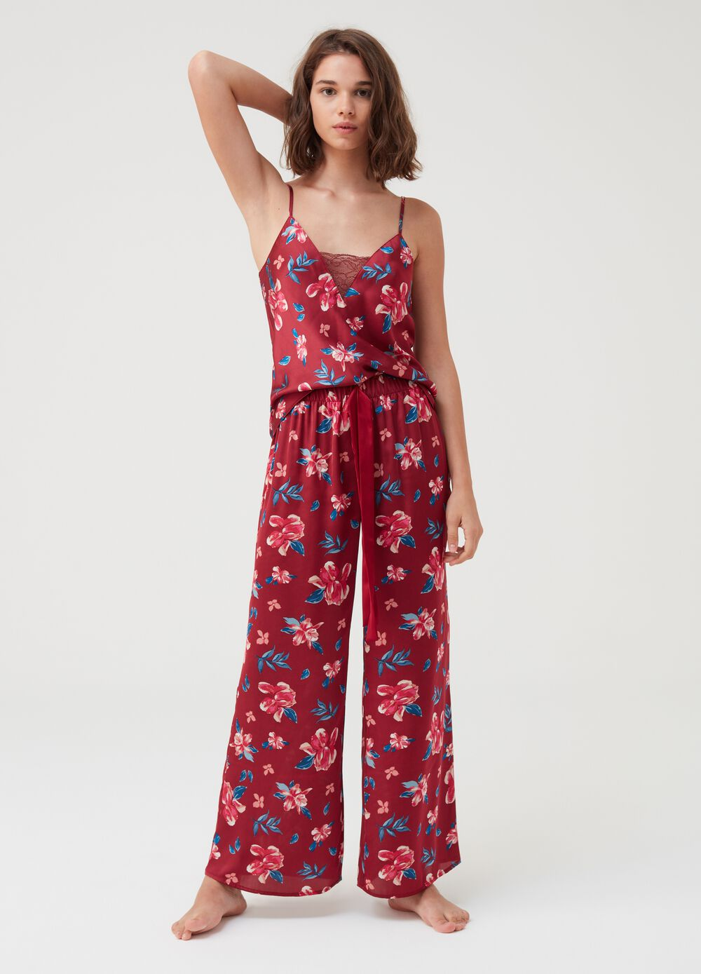 Floral fluid trousers in satin