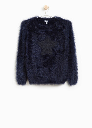 Faux fur pullover with star insert