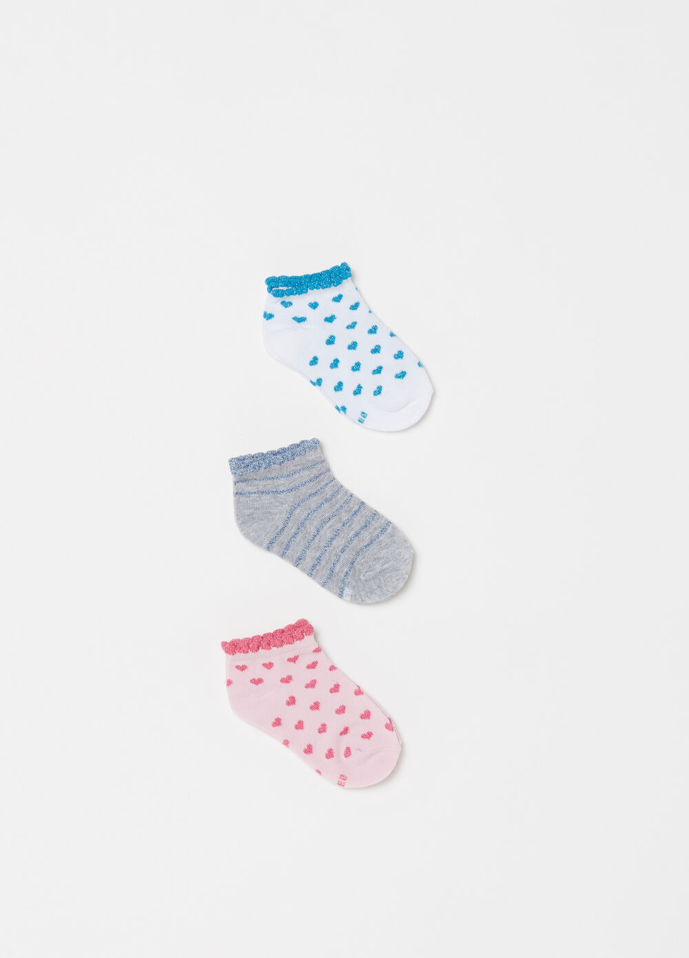 Three-pair pack short socks with glitter embroidery