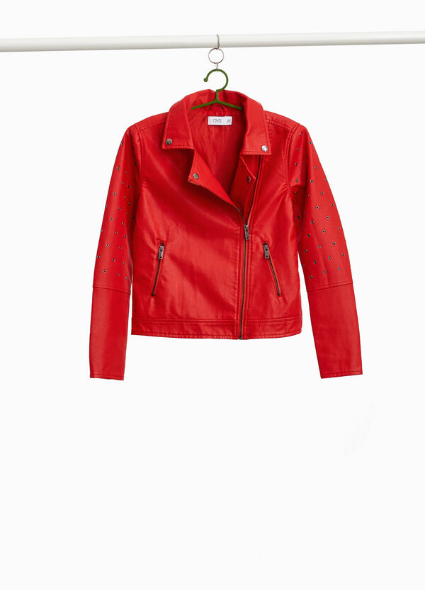 Leather-look crop jacket with eyelets