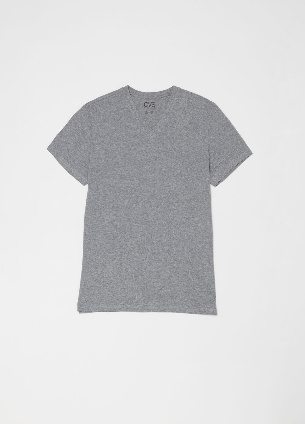 Cotton and viscose T-shirt with V neck