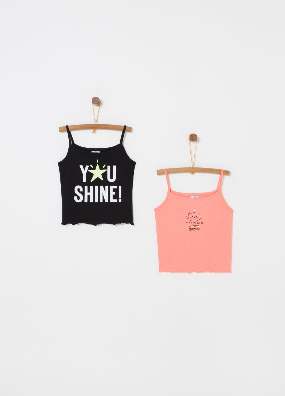 Two-pack stretch tops with print