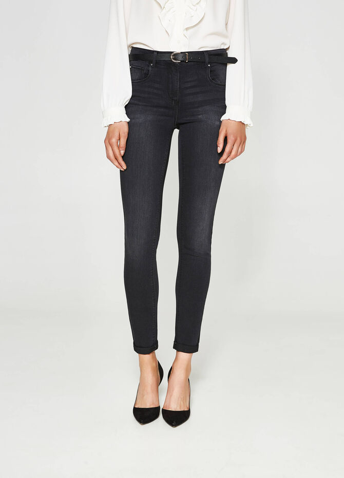 Push-up worn-effect jeans