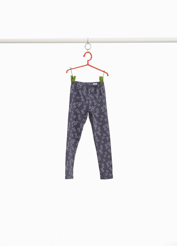 Leggings in stretch cotton with heart pattern