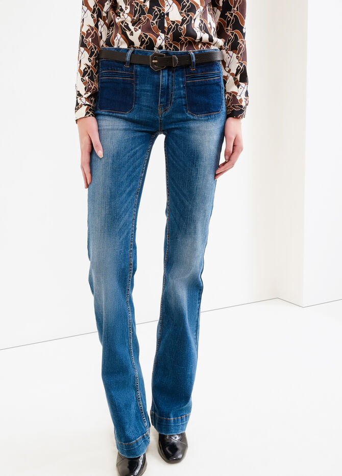 Flare fit, worn-effect faded jeans