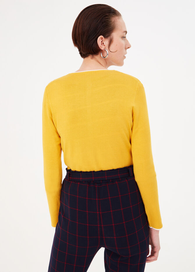 Cardigan with contrasting trim