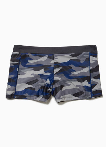 Stretch swim boxer shorts with camouflage