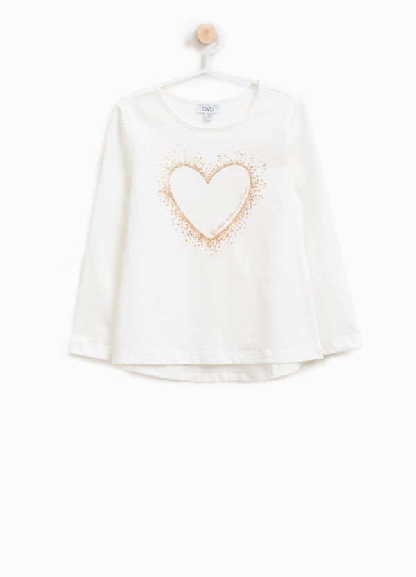 T-shirt in cotone stampa a cuore