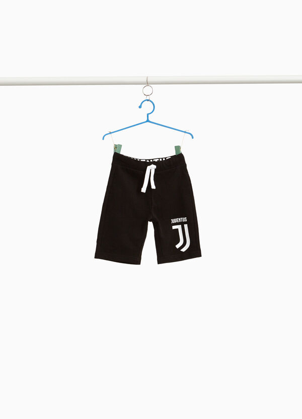 100% cotton Bermuda shorts with Juventus print