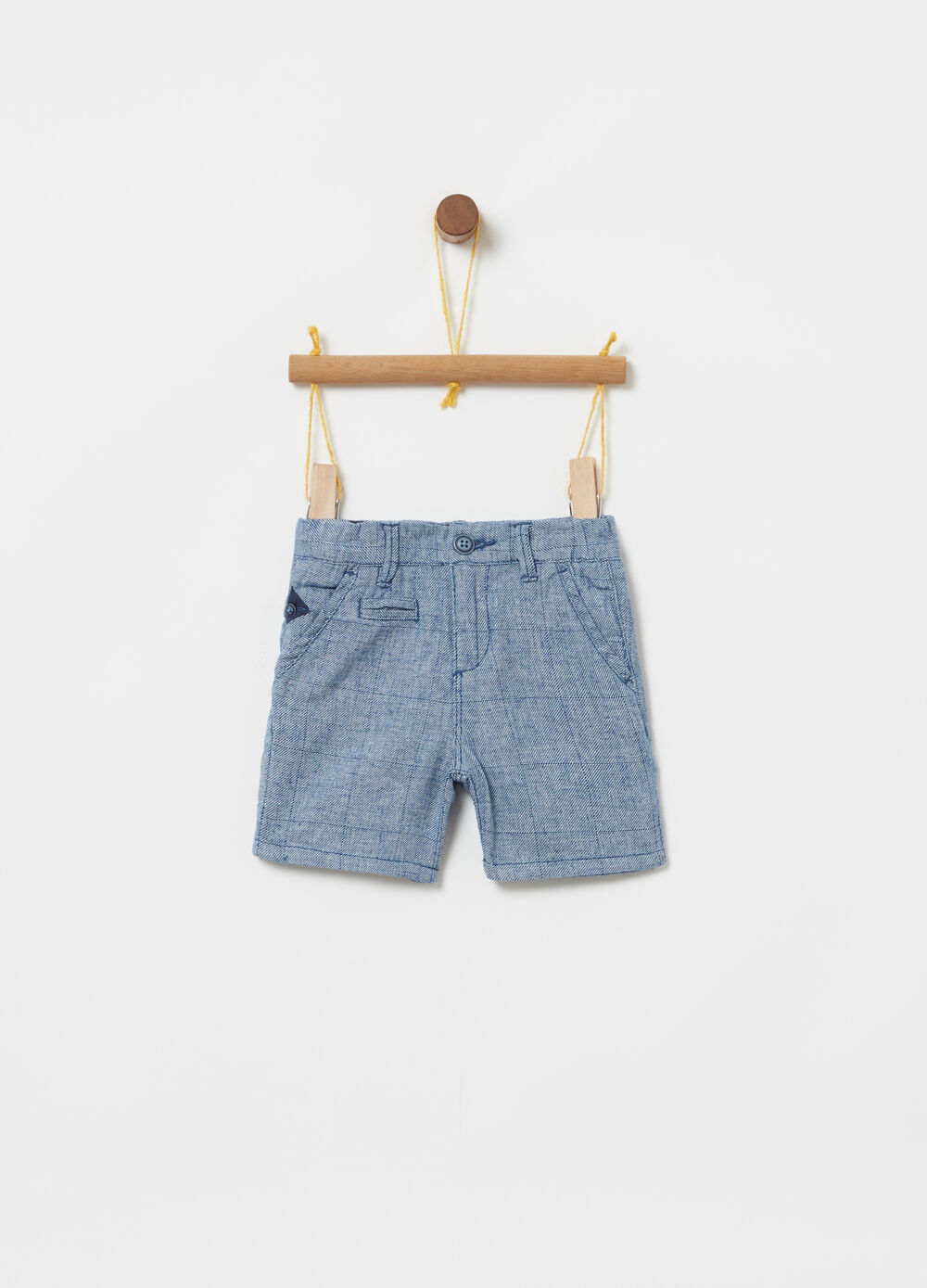 Check cotton and linen Bermudas