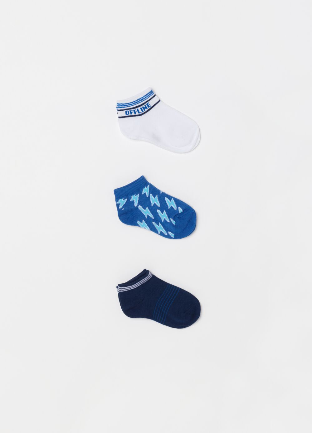 Three-pack short socks with pattern and print