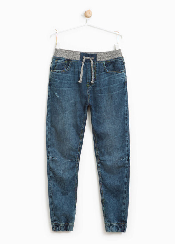 Worn-effect jeans with elasticated waist | OVS