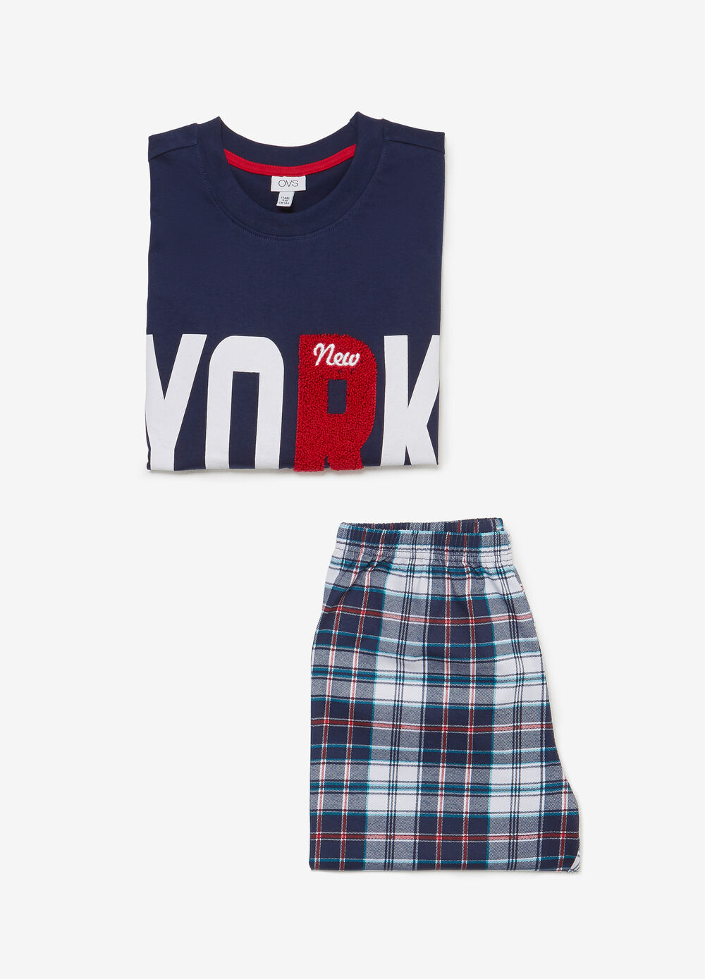 Cotton pyjamas with lettering and tartan