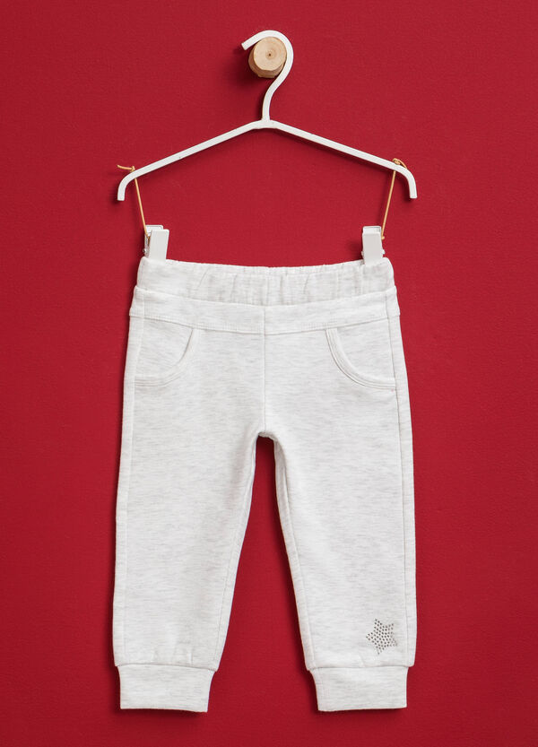Stretch cotton joggers with diamantés | OVS