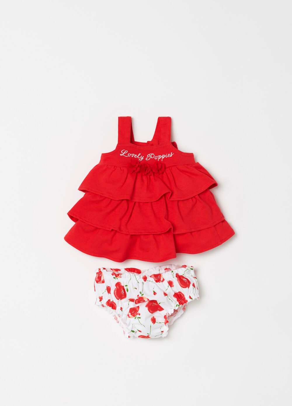 Floral biocotton briefs and dress set