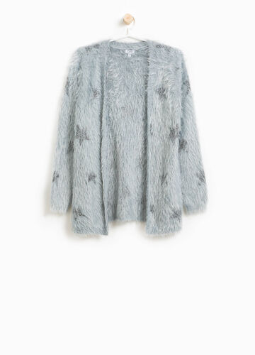 Knitted cardigan with lurex stars