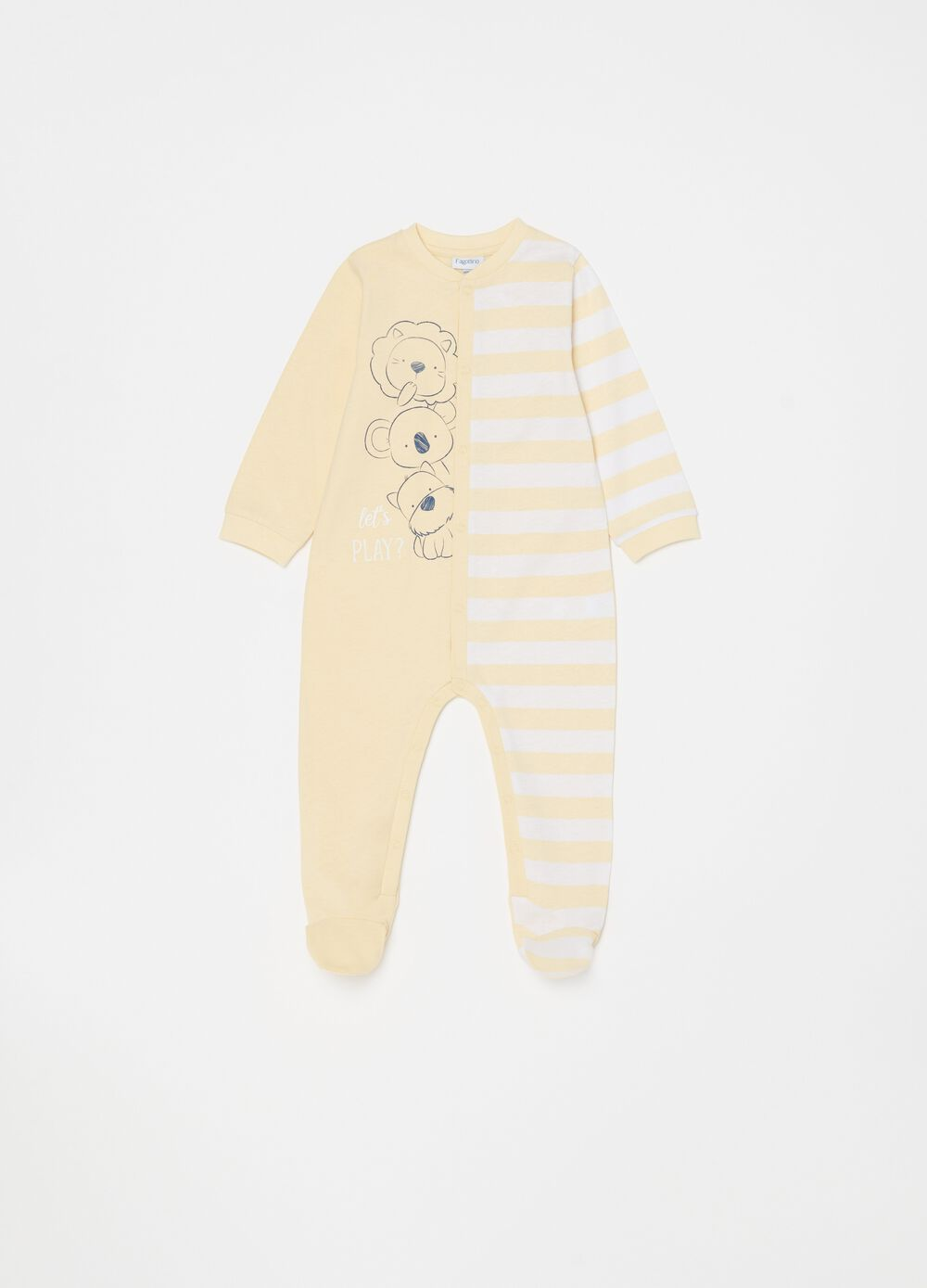 Onesie with feet, print and stripes
