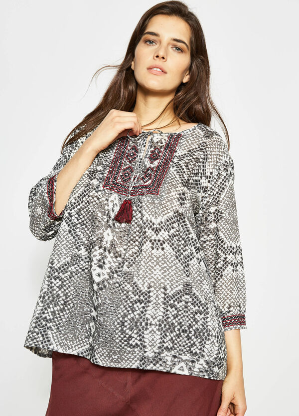 Curvy animal print blouse with embroidery   OVS