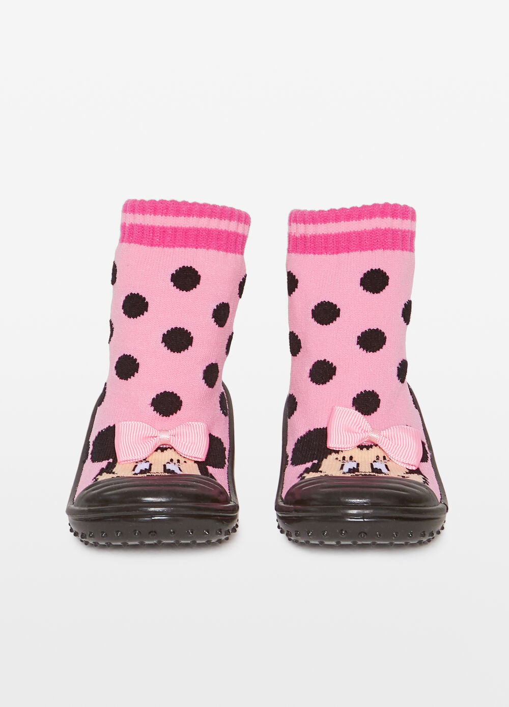 High slippers with polka dot and Minnie Mouse pattern