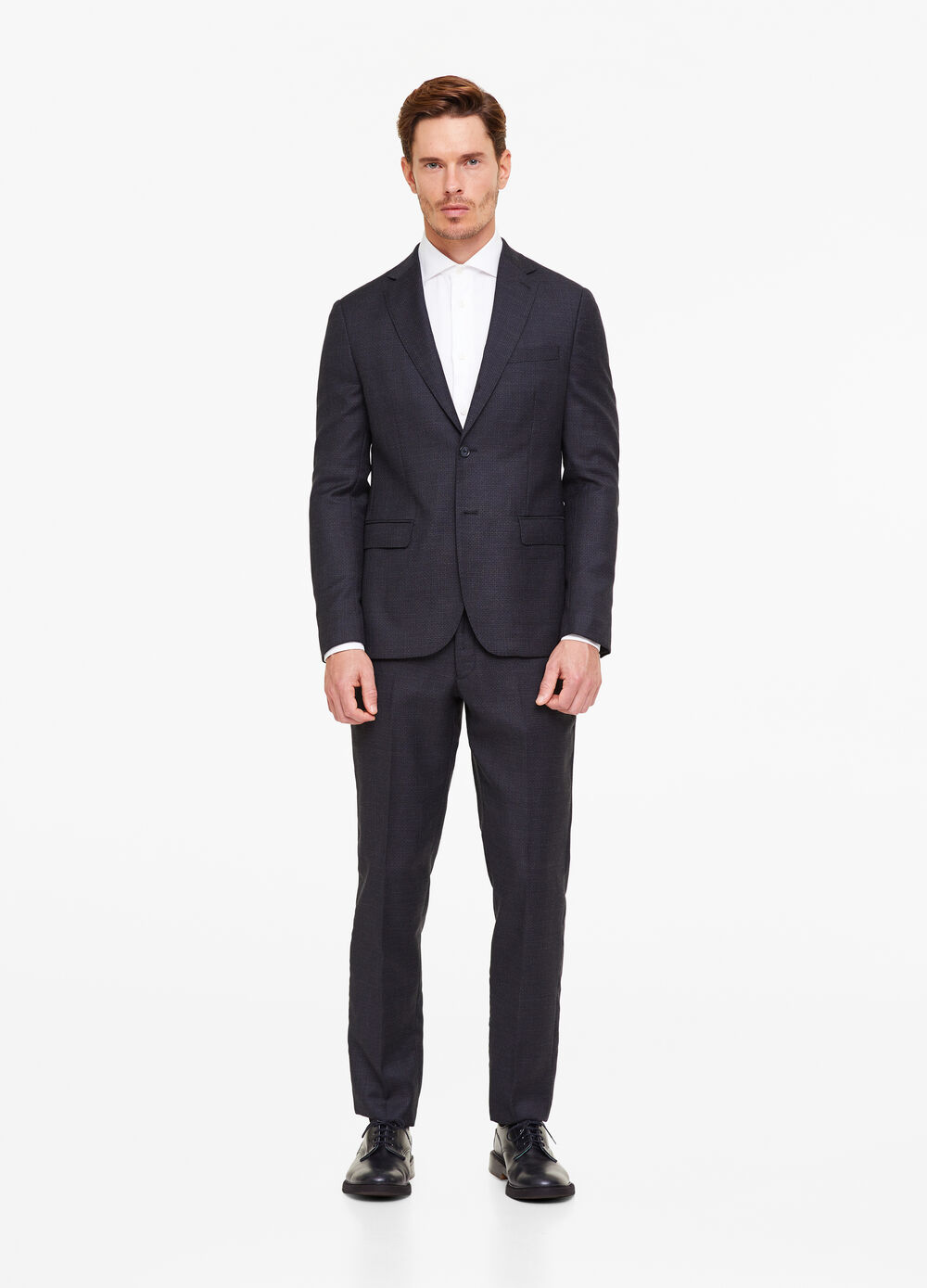 100% wool suit with micro pattern