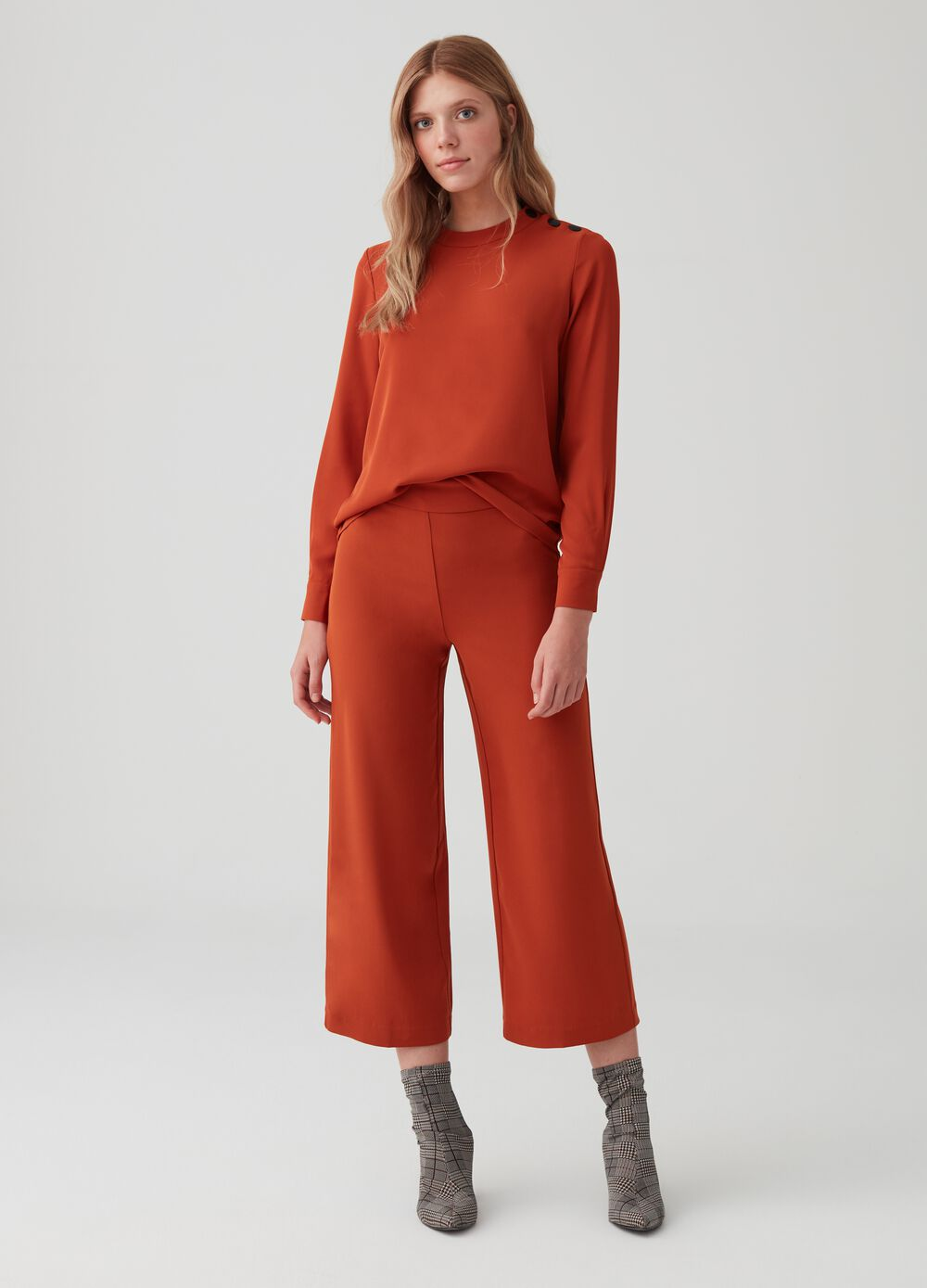 Stretch crop culotte trousers