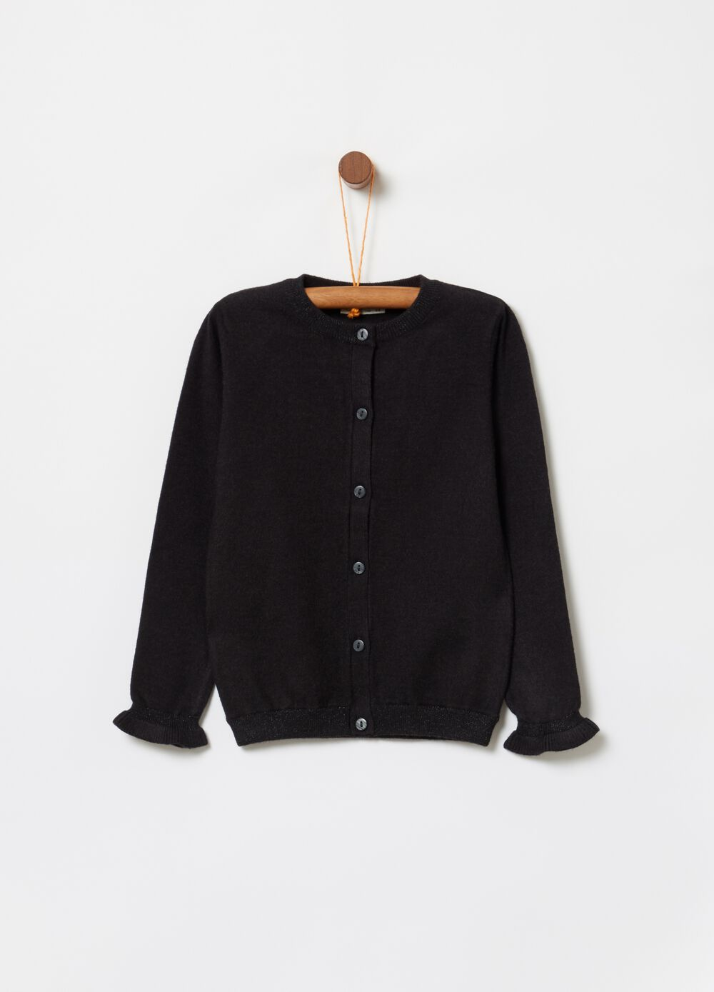 Lurex cardigan with frills