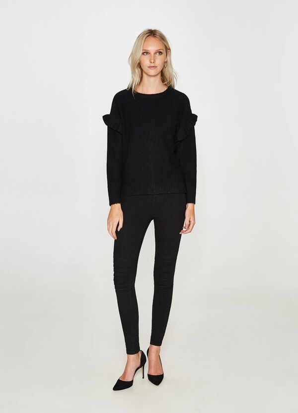 Stretch wool blend pullover with flounce | OVS