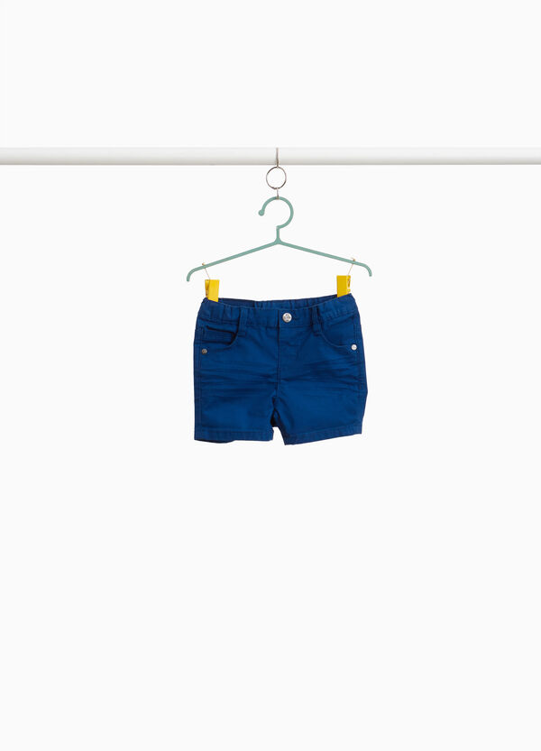 Stretch cotton Bermuda shorts with patches