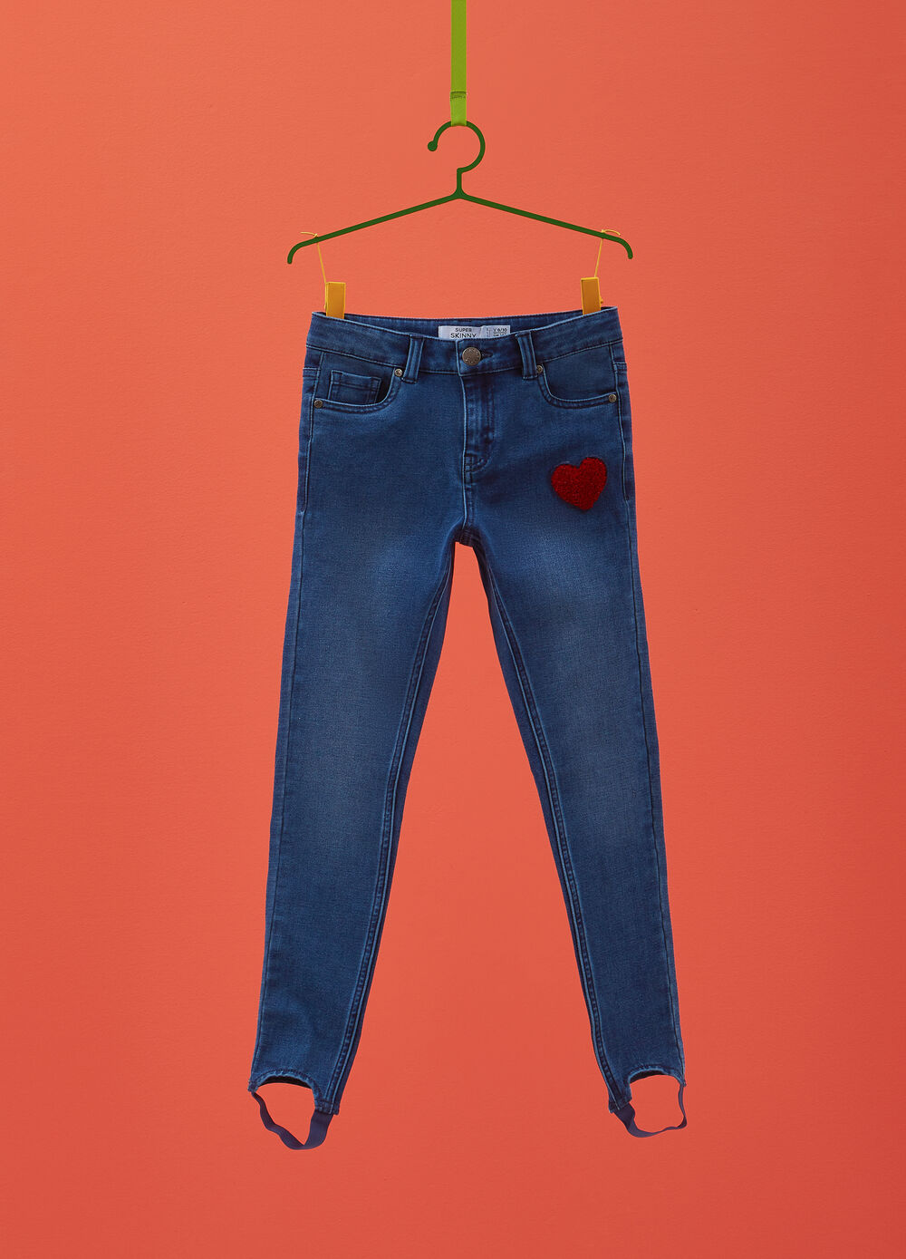 Super-skinny-fit washed-effect jeans with patch