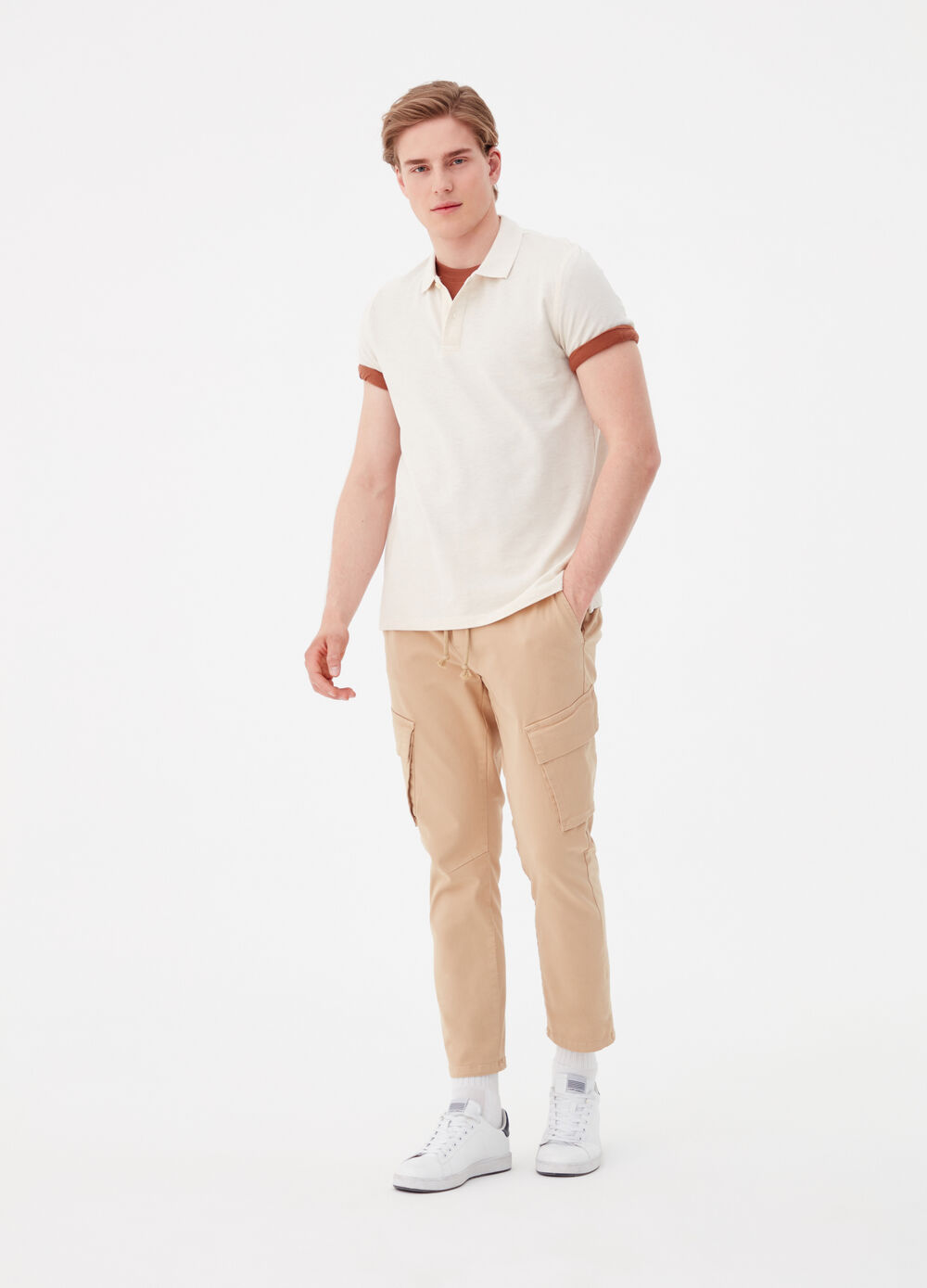 Solid colour cargo pants with drawstring