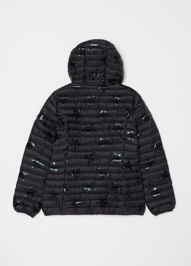 Patterned padded and quilted jacket