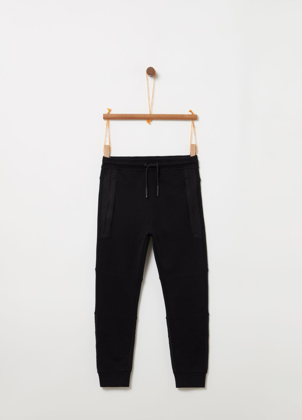 Trousers in 100% cotton with drawstring and nylon