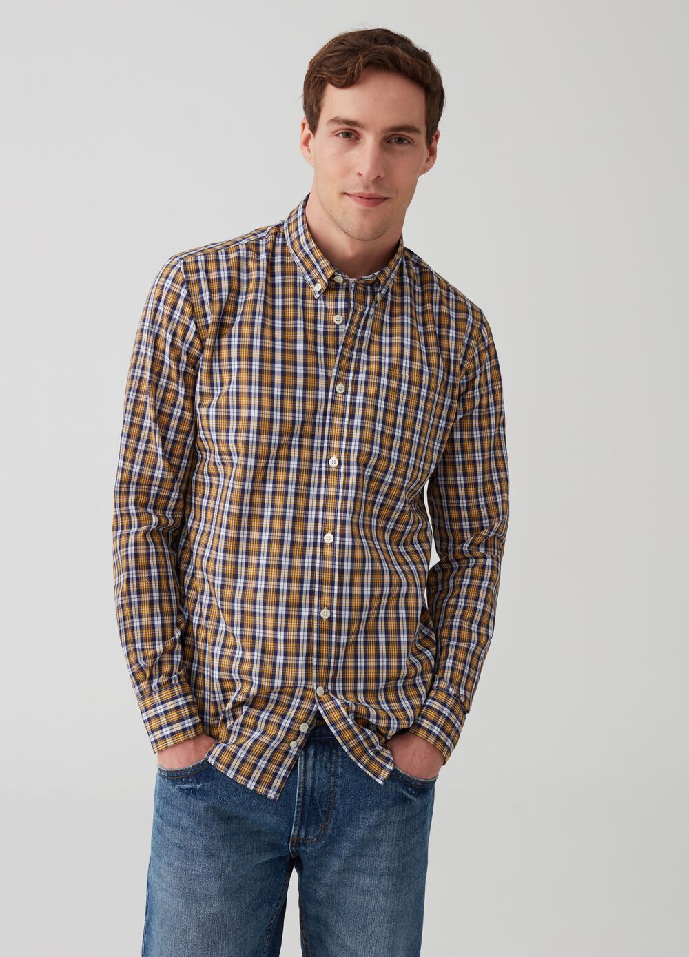 Button-down shirt with check pattern