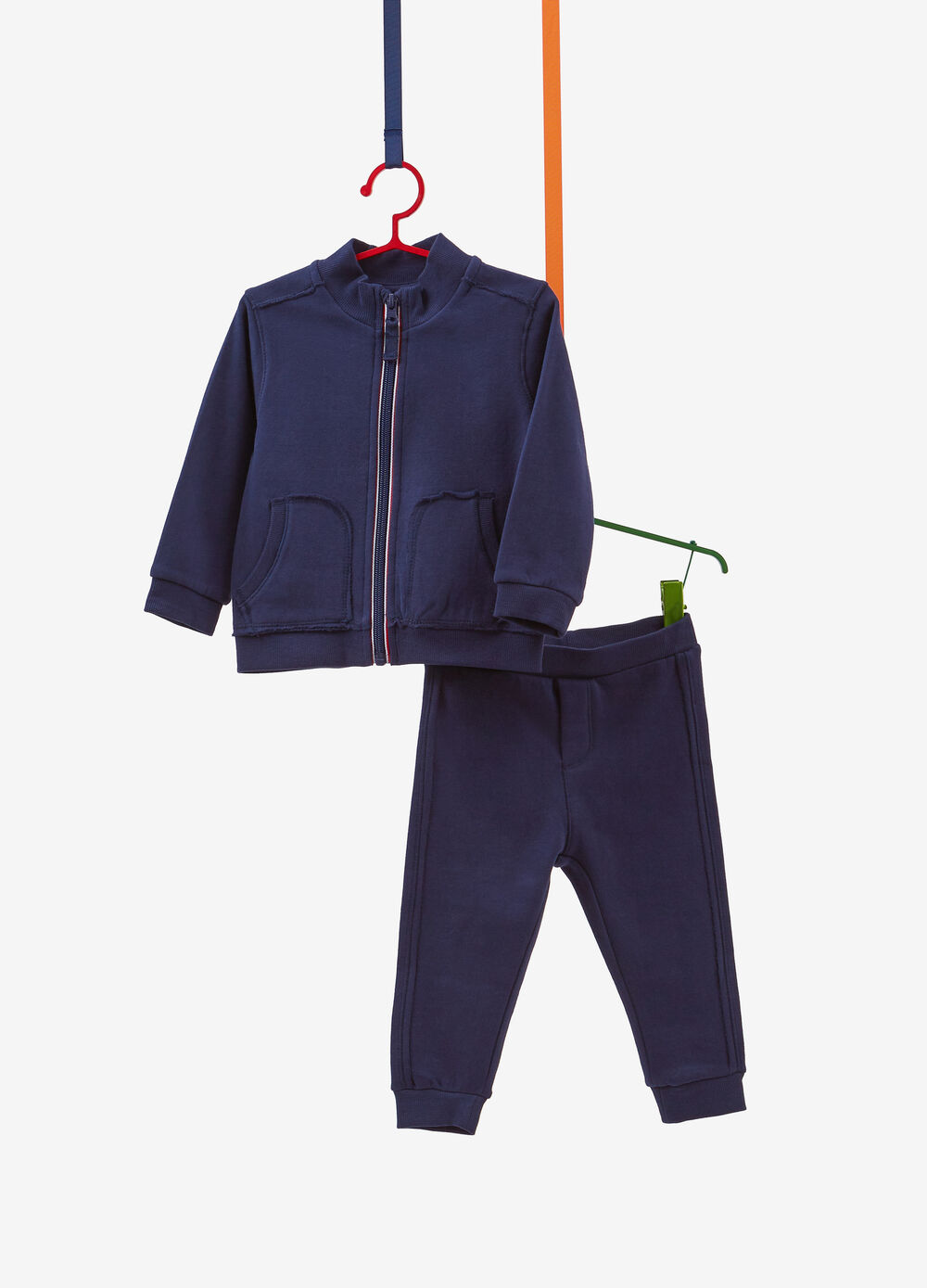 Tracksuit in 100% cotton with fringed stitching
