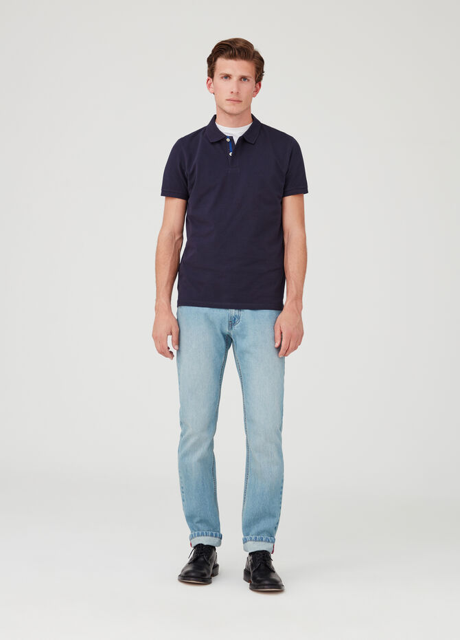 Polo shirt in organic cotton piquet with striped detail