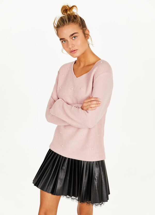 Viscose blend pullover with beads