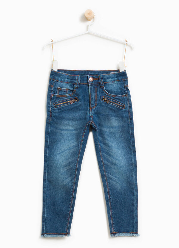 Used-effect stretch jeans with zip | OVS