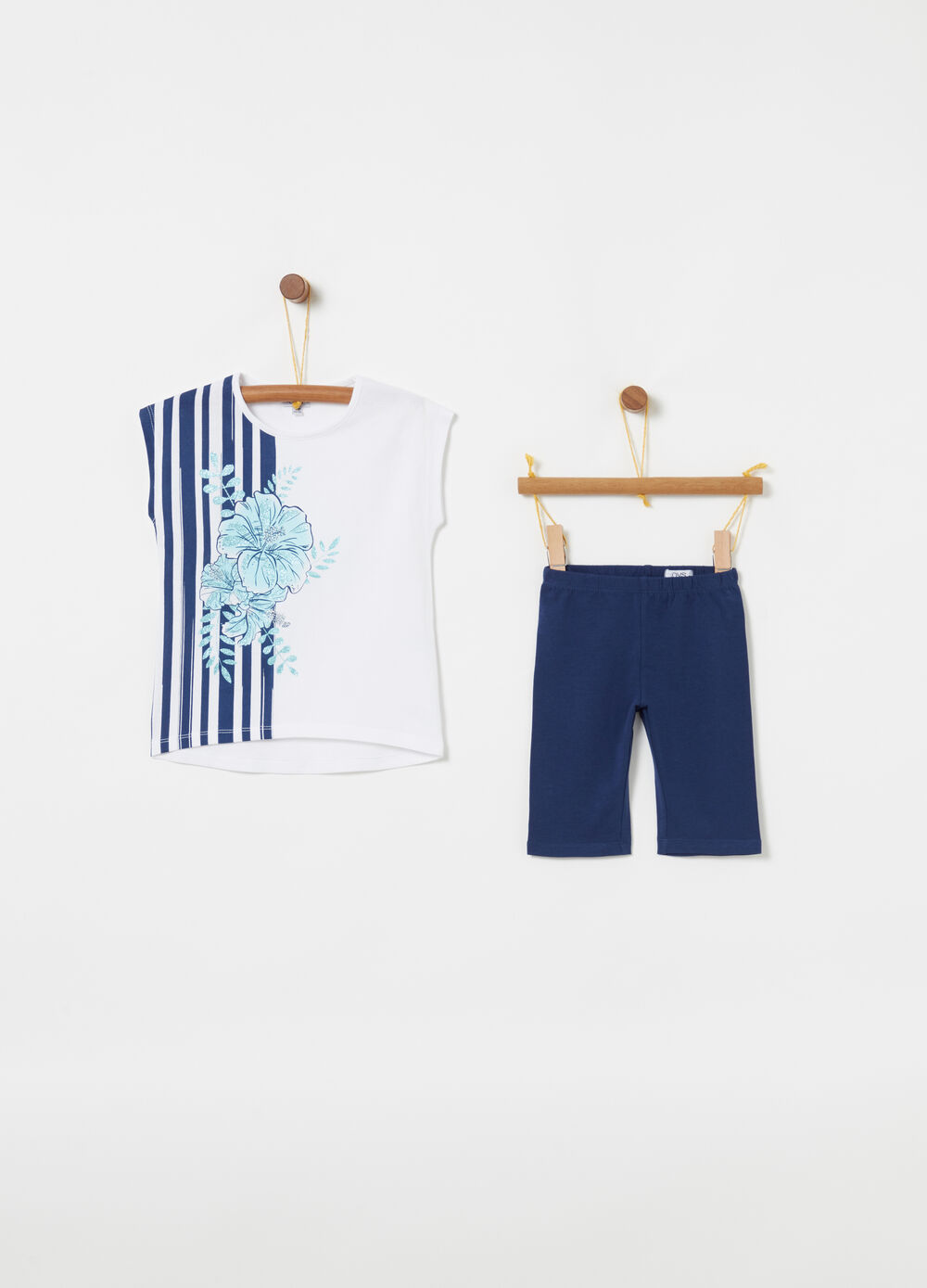 Jogging set with T-shirt and leggings with floral print and stripes