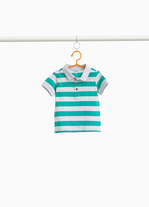100% cotton striped polo shirt