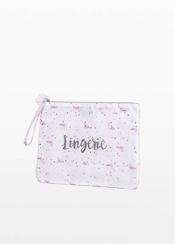 Purse with print and pompom