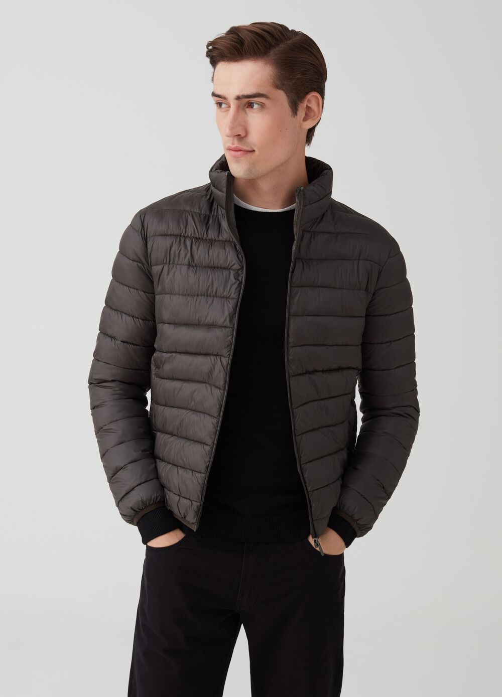 Quilted jacket with high neck and zip