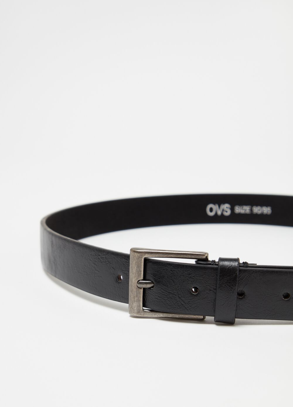 Leather-look belt with rectangular buckle