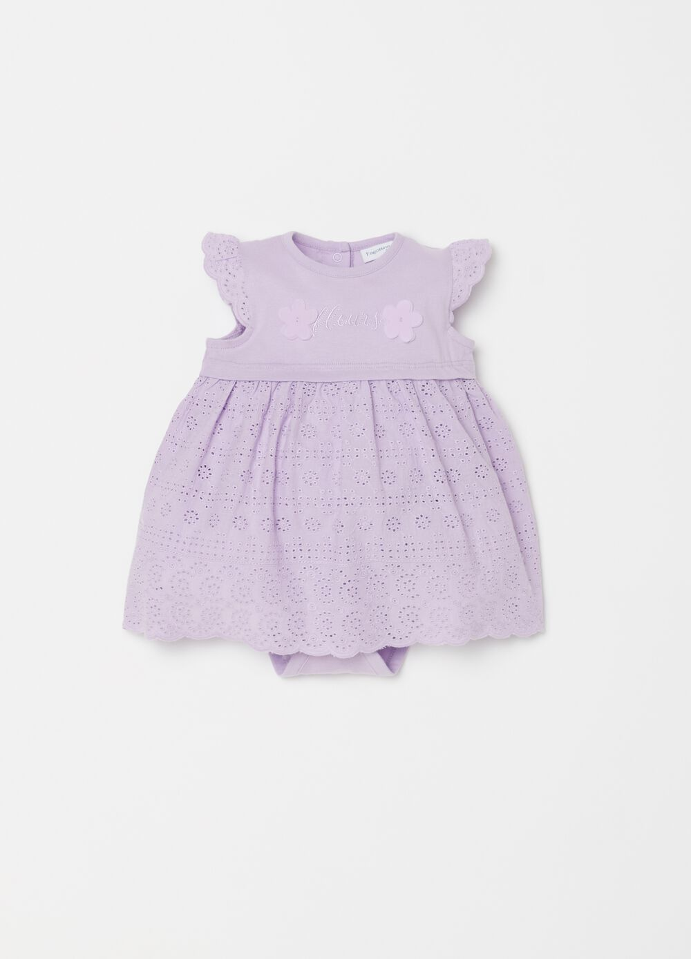 Short lace-effect cotton romper suit